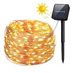 preiswerte LED Lichtstreifen-ZDM® 10m Leuchtgirlanden 100 LEDs SMD 0603 1Set Montagehalterung Warmes Weiß / Kühles Weiß / Blau Wasserfest / Solar / Neues Design Solarbetrieben / 2 V 1 set