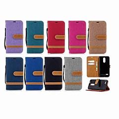 Недорогие Чехлы и кейсы для LG-Кейс для Назначение LG K10 2018 / G7 Кошелек / Бумажник для карт / со стендом Чехол Однотонный Твердый текстильный для LG K10 2018 / LG K10 (2017) / LG K10