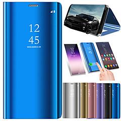 Недорогие Чехлы и кейсы для Galaxy Note 5-Кейс для Назначение SSamsung Galaxy Note 9 / Note 8 Покрытие / Зеркальная поверхность / Флип Чехол Однотонный Твердый Кожа PU для Note 9 / Note 8 / Note 5