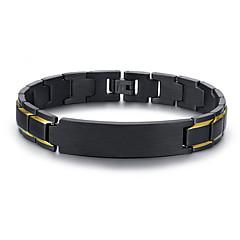 preiswerte Armbänder-Herrn Gliederkette Armband - 18K vergoldet, Titanstahl Einzigartiges Design, Europäisch Armbänder Schmuck Schwarz Für Alltag Strasse