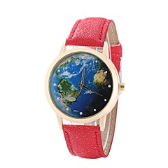 preiswerte Damenuhren-Damen Kleideruhr Armbanduhr Quartz Neues Design Armbanduhren für den Alltag PU Band Analog Freizeit Weltkarte Muster Schwarz / Weiß / Blau - Rot Blau Rosa Ein Jahr Batterielebensdauer