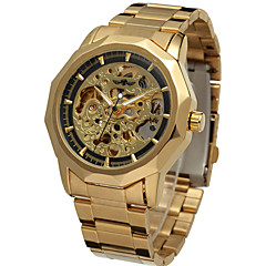 お買い得  メンズ腕時計-WINNER 男性用 リストウォッチ 機械式時計 自動巻き 耐水 透かし加工 新デザイン ステンレス バンド ハンズ カジュアル ファッション シルバー / ゴールド - ゴールド シルバー