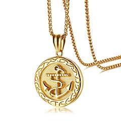Недорогие Ожерелья-Муж. Стильные Ожерелья с подвесками - Титановая сталь Якорь Мода Cool Золотой 60 cm Ожерелье Бижутерия 1 комплект Назначение Повседневные, Свидание