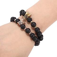 abordables Bijoux pour Femme-Homme Zircon Matte noire Perles Bracelets de rive - Créatif Branché, Mode Bracelet Noir / Argent / Or Rose Pour Quotidien Anniversaire