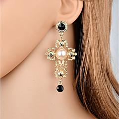 preiswerte Ohrringe-Damen Retro Tropfen-Ohrringe - Künstliche Perle, Strass Blume Modisch, Elegant Gold Für Geschenk / Party