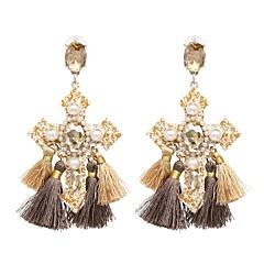 preiswerte Ohrringe-1 Paar Damen Quaste Tropfen-Ohrringe - Künstliche Perle Kreuz damas Quaste Retro Schmuck Regenbogen / Braun Für Alltag