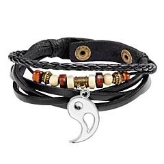 preiswerte Armbänder-Herrn Retro / Geflochten loom-Armband - Leder Kreativ Einfach, Retro Armbänder Weiß / Schwarz Für Geschenk / Strasse