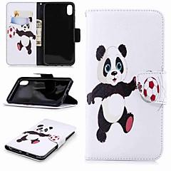 Недорогие Кейсы для iPhone-Кейс для Назначение Apple iPhone XR / iPhone XS Max Кошелек / Бумажник для карт / со стендом Чехол Панда Твердый Кожа PU для iPhone XS / iPhone XR / iPhone XS Max