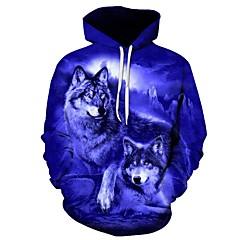 voordelige Herenhoodies & Sweatshirts-Heren Grote maten Ruimvallend Broek - 3D Wolf, Print blauw / Capuchon / Sport / Lange mouw / Herfst / Winter