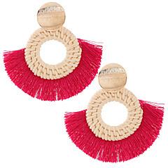 お買い得  イヤリング-女性用 タッセル 編み ドロップイヤリング  -  シンプル, 欧風, 誇張 レッド / グリーン / ダークネービー 用途 パーティー カジュアル