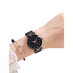 お買い得  レディース腕時計-女性用 リストウォッチ クォーツ 30 m カジュアルウォッチ 模造ダイヤモンド ステンレス バンド ハンズ ファッション エレガント ブラック / ブラウン / グレー - パープル アイロングレー ゴールデンブラウン