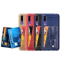 Недорогие Чехлы и кейсы для Huawei Mate-Кейс для Назначение Huawei Y3 (2018) / P20 Бумажник для карт / со стендом / Кольца-держатели Кейс на заднюю панель Однотонный Мягкий Кожа PU для Huawei P20 / Huawei P20 Pro / Huawei P20 lite