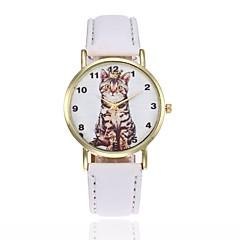 preiswerte Damenuhren-Damen Armbanduhr Quartz Armbanduhren für den Alltag lieblich Leder Band Analog Modisch Schwarz / Weiß / Blau - Rot Rosa Leicht Grün