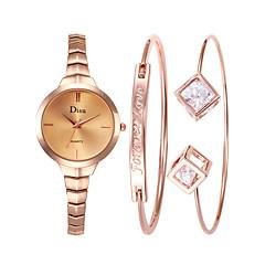 preiswerte Damenuhren-Damen Armbanduhr Quartz 30 m Neues Design Armbanduhren für den Alltag Edelstahl Band Analog Retro Modisch Silber / Rotgold - Schwarz Silber Rotgold