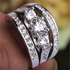 preiswerte Ringe-Damen Klar Kubikzirkonia Mehrschichtig Ring Ring-Set - Platiert, Diamantimitate Kostbar Modisch, Romantisch 6 / 7 / 8 / 9 Silber Für Party Verabredung / 3 Stück