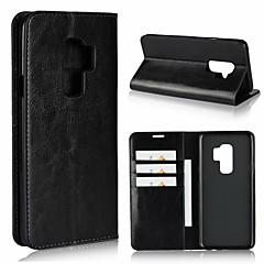 abordables Galaxy S6 Edge Carcasas / Fundas-Funda Para Samsung Galaxy S9 Plus / S9 Cartera / Antigolpes / con Soporte Funda de Cuerpo Entero Un Color Dura piel genuina para S9 / S9 Plus / S8 Plus