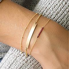 preiswerte Armbänder-Damen Rot Kristall Gliederkette ID Armband - Natur, Modisch Armbänder Gold Für Alltag Ausgehen / 3 Stück