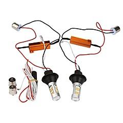 Недорогие Дневные фары-Светодиодная лампа с подсветкой 2pcs 1156 bau15s 42leds double color white&желтый дневной пробег легкий автомобиль drl указатель поворота dc12v