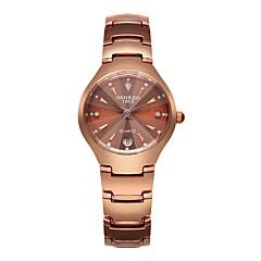 preiswerte Damenuhren-Damen Armbanduhr Quartz 30 m Wasserdicht Kalender Legierung Band Analog Luxus Modisch Schwarz / Rotgold - Schwarz Rotgold