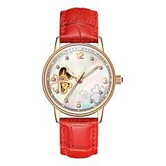 preiswerte Damenuhren-Angela Bos Damen damas Armbanduhr Automatikaufzug 30 m Wasserdicht Transparentes Ziffernblatt Armbanduhren für den Alltag Edelstahl Leder Band Analog Blume Modisch Schwarz / Weiß / Rot - Rot Rosa