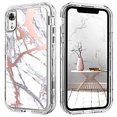 Недорогие Кейсы для iPhone-случай bentoben для яблока iphone xr ударопрочный / картина / беспроволочный заряжатель приемника случая полный случай тела мрамор трудный tpu / pc для iphone xr