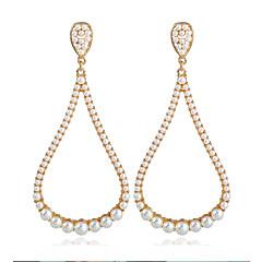 お買い得  イヤリング-女性用 リンク/チェーン ドロップイヤリング - 真珠, ゴールドメッキ ボヘミアンスタイル, 欧風 ゴールド 用途 ストリート
