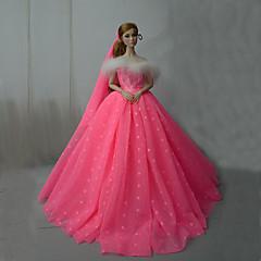 abordables Ropa para Barbies-Vestidos Una Sola Pieza por Muñeca Barbie  Rosa Brillante Satén / Tul Vestido por Chica de muñeca de juguete