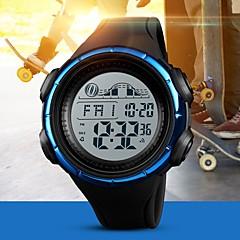 preiswerte Digitaluhren-SKMEI Herrn Paar Digitaluhr digital 50 m Wasserdicht Kalender Stopuhr PU Band digital Freizeit Modisch Schwarz / Blau / Kleegrün - Schwarz Grün Blau