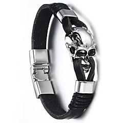 abordables Bijoux pour Femme-Homme Le style rétro Bracelets en cuir - Acier au titane Crâne Punk, Européen Bracelet Noir Pour Plein Air