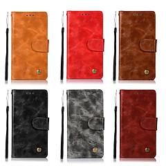 Недорогие Чехлы и кейсы для HTC-Кейс для Назначение HTC U11 Кошелек / Бумажник для карт / со стендом Чехол Однотонный Твердый Кожа PU для HTC U11