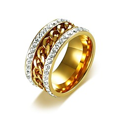 cheap Rings-Men's AAA Cubic Zirconia Cuban Link Band Ring - Titanium Steel Hip-Hop Jewelry Gold For Wedding Masquerade Engagement Party Prom Street 7 / 8 / 9 / 10 / 11