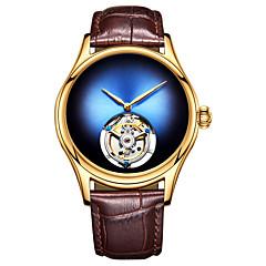 お買い得  メンズ腕時計-Angela Bos 男性用 機械式時計 手巻き式 50 m 耐水 透かし加工 新デザイン 本革 バンド ハンズ ぜいたく ファッション ブラック / ブラウン - レッド グリーン ブルー / ステンレス