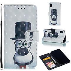 Недорогие Кейсы для iPhone 7 Plus-Кейс для Назначение Apple iPhone XR / iPhone XS Max Кошелек / Бумажник для карт / со стендом Чехол С собакой Твердый Кожа PU для iPhone XS / iPhone XR / iPhone XS Max
