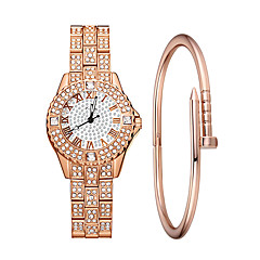 preiswerte Damenuhren-Damen damas Armbanduhr Quartz 30 m Wasserdicht Imitation Diamant Legierung Band Analog Luxus Modisch Silber / Gold / Rotgold - Gold Silber Rotgold