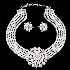 abordables Juegos de Joyería-Mujer En Capas Conjunto de joyas - Perla Artificial Flor Elegante, Diseño Único Incluir Pendientes colgantes Collar Blanco Para Diario