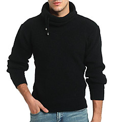 cheap Men's Sweaters & Cardigans-Men's Daily Solid Colored Long Sleeve Regular Pullover Black / Camel L / XL / XXL