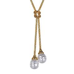 preiswerte Halsketten-Damen Lasso Anhängerketten - Edelstahl, Künstliche Perle Modisch Gold, Silber 55 cm Modische Halsketten Schmuck 1pc Für Geschenk, Alltag