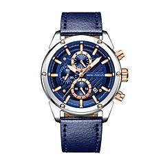 お買い得  メンズ腕時計-男性用 軍用腕時計 リストウォッチ 日本産 クォーツ 30 m 耐水 カレンダー クロノグラフ付き 本革 バンド ハンズ バングル ファッション ブラック / ブルー / ブラウン - グレー Brown ブルー 2年 電池寿命