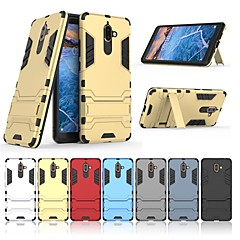 Недорогие Чехлы и кейсы для Nokia-Кейс для Назначение Nokia Nokia 7 Plus Защита от удара / со стендом Кейс на заднюю панель Однотонный / броня Твердый ПК для Nokia 7 Plus