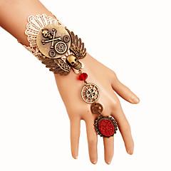 preiswerte Armbänder-Damen Geflochten Ring-Armbänder - Totenkopf, Ausrüstung Erklärung, Modisch, Steampunk Armbänder Gold Für Karnival Maskerade