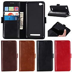Недорогие Чехлы и кейсы для Xiaomi-Кейс для Назначение Xiaomi Redmi Примечание 5A / Redmi Note 4X Кошелек / Бумажник для карт / со стендом Чехол Однотонный Твердый Настоящая кожа для Xiaomi Redmi Note 4X / Xiaomi Redmi Note 4 / Xiaomi
