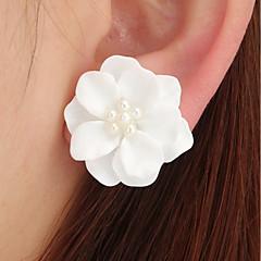 preiswerte Ohrringe-Damen 3D Ohrstecker - Künstliche Perle Blume Stilvoll, Klassisch Weiß / Schwarz / Leicht Rosa Für Alltag