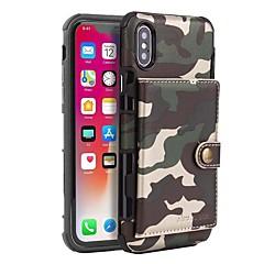Недорогие Кейсы для iPhone-Cooho Кейс для Назначение Apple iPhone X / iPhone XS Max Бумажник для карт / Защита от удара / Защита от пыли Чехол Камуфляж Твердый Кожа PU / ПК для iPhone XS / iPhone XS Max / iPhone X
