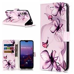 お買い得  Huawei Pシリーズケース/ カバー-ケース 用途 Huawei P20 Pro / P10 Lite ウォレット / カードホルダー / スタンド付き フルボディーケース フラワー ハード PUレザー のために Huawei P20 / Huawei P20 Pro / Huawei P20 lite