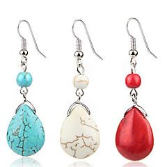 preiswerte Ohrringe-Damen Türkis Retro Tropfen-Ohrringe - Retro Rot / Blau / Beige / Weiß Für Alltag