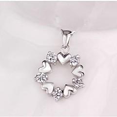 abordables Collares-Mujer Clásico Colgantes - Diamante Sintético Corazón Elegante, Clásico Colgante Plata Para Diario