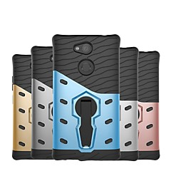 Недорогие Чехлы и кейсы для Sony-Кейс для Назначение Sony Xperia XZ1 Compact / Xperia XZ2 Compact Защита от удара / со стендом Кейс на заднюю панель броня Твердый ПК для Xperia XZ2 Compact / Xperia XZ2 / Xperia XZ1 Compact