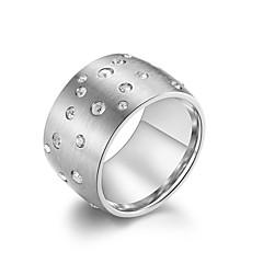 preiswerte Ringe-Damen Weiß Kubikzirkonia Klassisch Bandring Ring - Rostfrei Stilvoll, Retro, Modisch 7 / 8 / 9 / 10 / 11 Schwarz / Silber / Rotgold Für Party Geburtstag