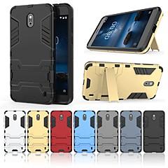 Недорогие Чехлы и кейсы для Nokia-Кейс для Назначение Nokia Nokia 2.1 Защита от удара / со стендом Кейс на заднюю панель Однотонный / броня Твердый ПК для Nokia 2