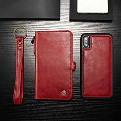 Недорогие Кейсы для iPhone-CaseMe Кейс для Назначение Apple iPhone X / iPhone XS Кошелек / Бумажник для карт / со стендом Чехол Однотонный Твердый Кожа PU для iPhone XS / iPhone X